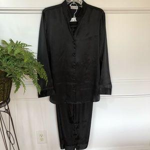 Kim Rogers black satin pajama set. Size L
